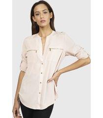 blusa calvin klein zipper roll sleeve rosa - calce holgado