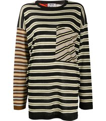 acne studios oversized multi-stripe jumper - black