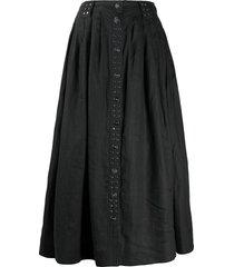 ganni studded midi skirt - black