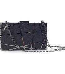 bolsa clutch liage brilho fosca alã§a removãvel preta - preto - feminino - dafiti