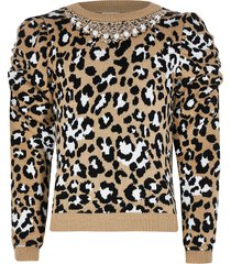 river island girls brown puff sleeve necklace jumper