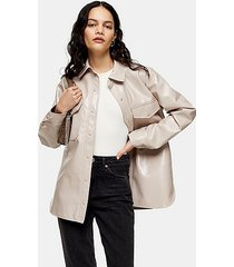 pink vinyl faux leather shirt - pink