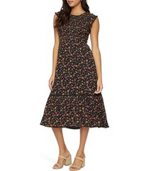lost + wander party till dawn midi dress, size large in black multi at nordstrom