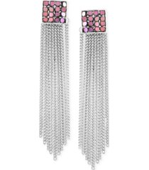 guess silver-tone & colored-finish chain fringe linear drop earrings