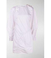 ganni asymmetric striped dress