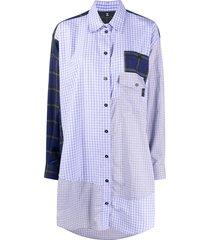 mcq patchwork plaid shirt dress - purple