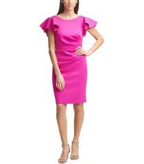 jessica howard ruffle-sleeve sheath dress