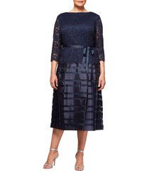 plus size women's alex evenings mock two-piece a-line midi dress, size 22w - blue