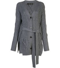 cable knit robe cardigan grey