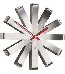 relógio de parede ribbon aço inox 30,5 cm umbra