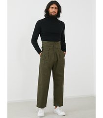 hombres vendimia moda casual sueltos de cintura alta pantalones