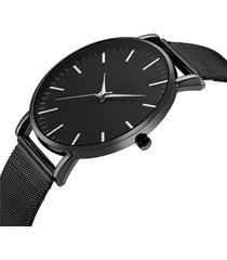 reloj hombre ultra delgado acero inoxidable 1298 negro