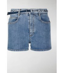 stella mccartney logo belt denim shorts