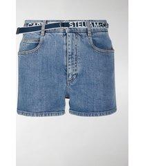 stella mccartney logo belt denim shorts