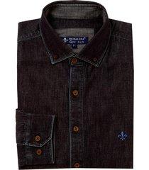 camisa dudalina manga longa dark blue button down masculina (jeans escuro, 6)