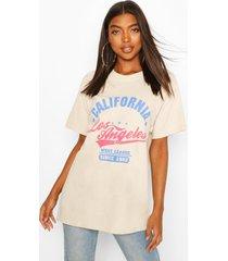 tall 'california' oversized t-shirt, beige
