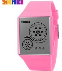 hombres y mujeres = reloj impermeable led-rosa