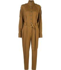 proenza schouler high collar buttoned jumpsuit - brown