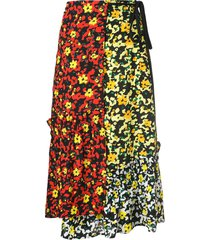 proenza schouler multi floral asymmetrical skirt - poppy wildflower