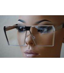 classic vintage retro shield style flat clear lens eyeglasses silver metal frame
