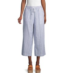 beach lunch lounge women's margot striped wide cropped pants - high tide - size xs