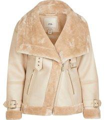 river island womens petite cream shearling aviator coat