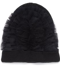 tulle wool chunky knit beanie