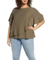plus size women's single thread textured dot top