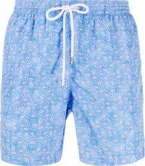 barba summer print swim shorts - blue