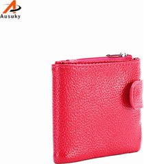 genuine leather 2 folder women wallets long pu leather wallet female zipper clut