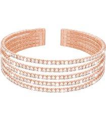 bracciale rigido multifilo in metallo rosato con strass per donna