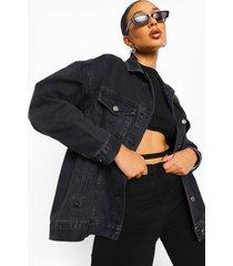 oversized gebleekte zwarte jas, dark grey