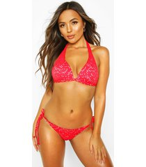mix & match broderie push up triangle top, red