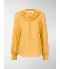 see by chloé polka dot-embroidered blouse