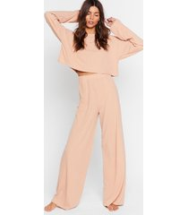 womens recycled keep your cool ribbed top and pants set - oatmeal