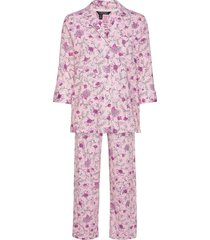 lrl 3/4 sl. notch collar long pant pj pyjama roze lauren ralph lauren homewear