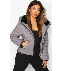 fitted quilted jacket, grey
