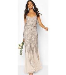 bruidsmeisje strappy maxi-jurk met handversierde godet, mink