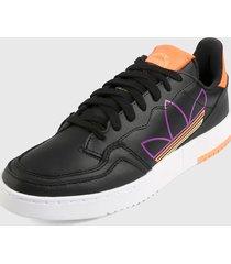 tenis lifestyle negro-naranja-morado-blanco adidas originals supercourt