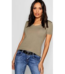 basic super soft v neck t-shirt, khaki