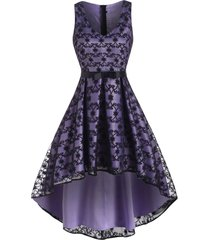 bowknot waist high low lace party dress