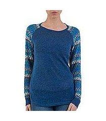 cotton blend sweater, 'garden vine in blue' (peru)