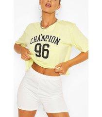 slogan boxy cropped t shirt, yellow