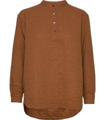 carita overhemd met lange mouwen bruin rabens sal r