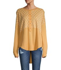 free people women's free spirit high-low henley - red clay - size s