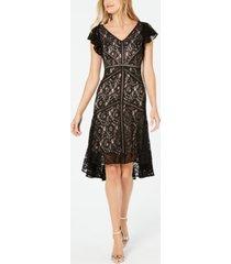 taylor petite flutter-sleeve lace dress