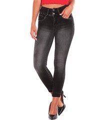 jeans wados pretina ancha 2 botones negro - calce ajustado