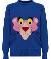 lc23 maglia pantera jacquard in cotone blu