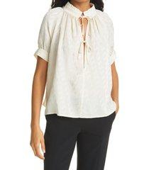 women's birgitte herskind gajol jacquard tie cuff blouse, size 10 us - ivory