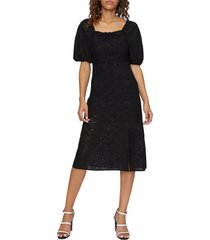 sanctuary women's beatrix eyelet midi dress - black - size 6